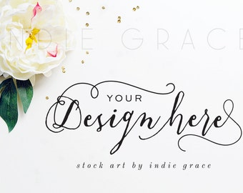 Styled Stock Art Photography / White Peony & Gold Sequins / Product Mockup