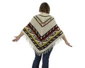 Fringed Poncho  - 1970's Jacket Vintage Cape Orange Cream Brown Yellow Folk Tribal Boho Coat Knit Sweater Hippie Cape Native Camping Shawl
