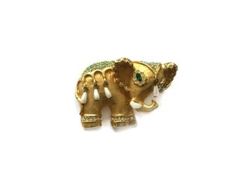 Vintage Kenneth Jay Lane K.J.L. Jeweled Indian Elephant Brooch