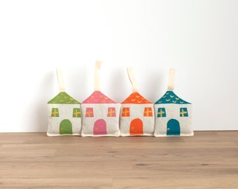 4 lavender sachets - cottage shaped - hand printed with golden accents - pink/blue/green/orange - for hanging or slip among clothes