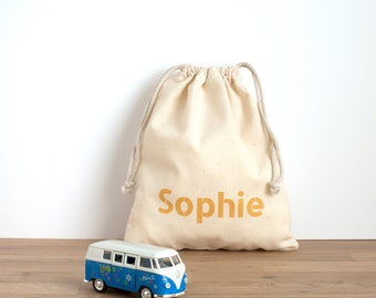 Personalised bag - printed customised text on cotton drawstring bag in golden letters- toy bag, snack bag, crèche or daycare bag