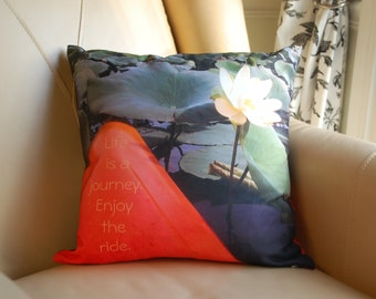 Girlfriend Photo Gift, Kayak Art, Lotus Flowers Accent Pillow, Personalized Pillow, Mississippi River, Kayaking, Kayakers