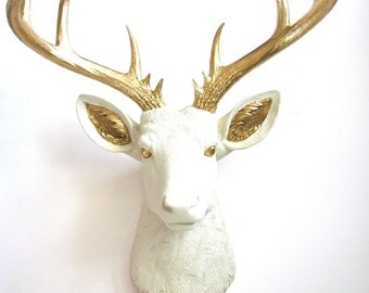 Painted Eyes and Ears XL Faux Taxidermy Deer Head:  Doug the XL Deer Head wall mount wall hanging in cream with gold eyes, ears, and antlers