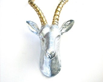 Faux Taxidermy Antelope Animal Head in silver and gold wall hanging:  Anje the fake animal head office decor modern lodge nursery wall decor