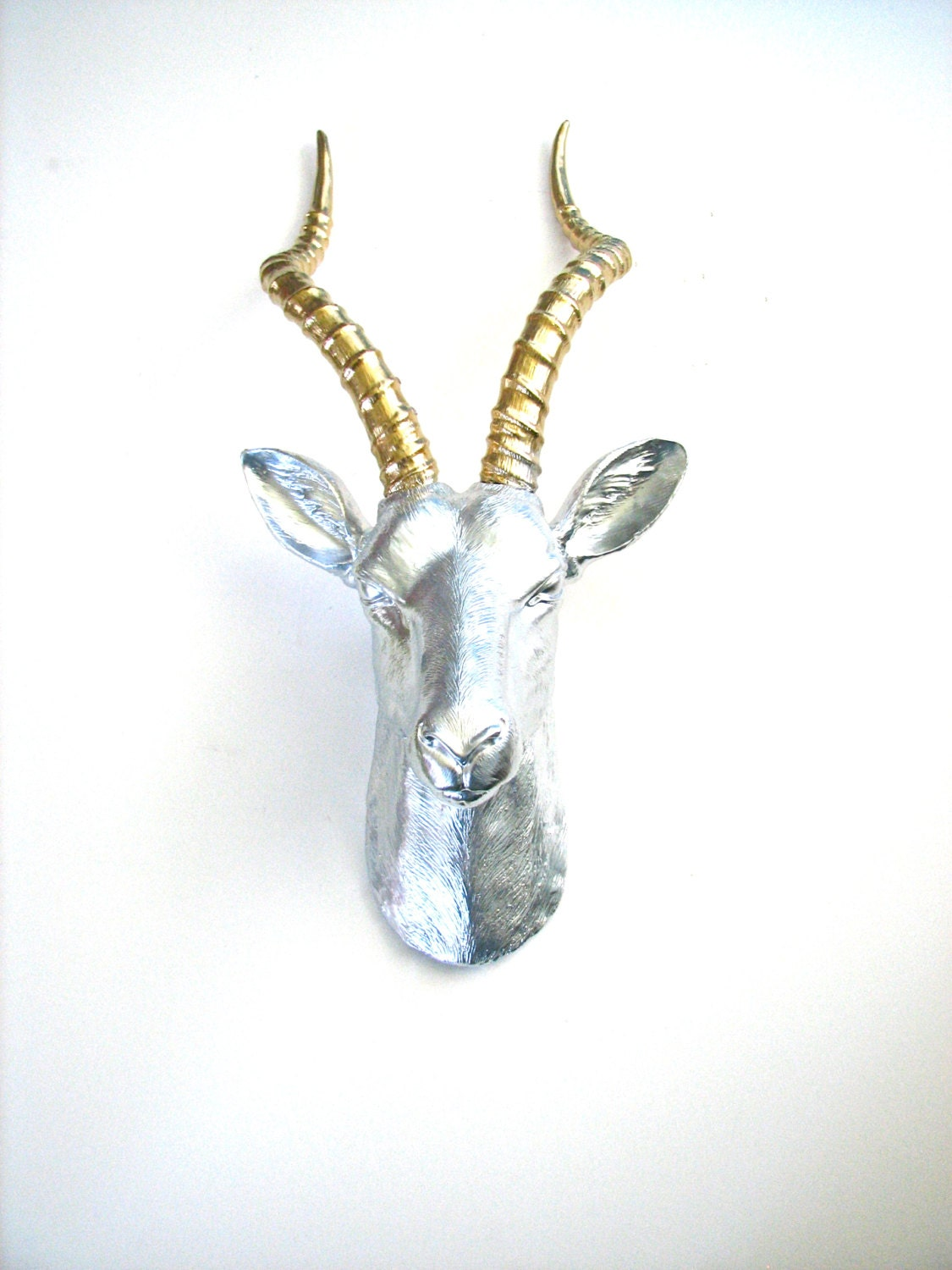 faux taxidermy antelope animal head in silver and gold wall hanging anje the fake animal - Animal Head Wall Decor