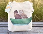 Owl and the Pussy Cat Tote Bag, Ethically Produced Reusable Shopper Bag, Cotton Tote, Shopping Bag, Eco Tote Bag