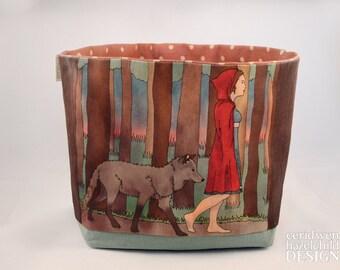 Red Riding Hood Fabric Storage Box, Storage Basket, Fabric Basket, Fabric Organiser, Storage Bin