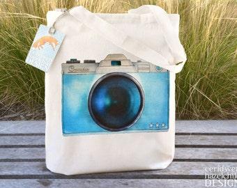 Camera Tote Bag, Ethically Produced Reusable Shopper Bag, Cotton Tote, Shopping Bag, Eco Tote Bag, Reusable Grocery Bag