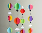 "Hot Air Balloon Baby Mobile ""Bright Spark"" - Nursery Mobile - Bright - Baby Shower Gift - Nursery Decor - New baby - Modern Baby - Baby Gift"