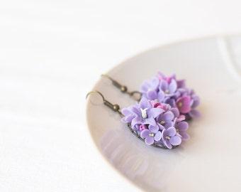 Lilac flower earrings - flower jewelry - floral jewelry - botanical earrings - polymer clay jewelry - lilac flower - botanical jewelry