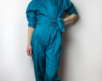 80's does 50's Turquoise Jumpsuit