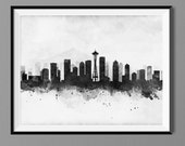 Seattle Skyline - Watercolor Art Print Poster - Housewarming, Gift Idea Home Decor, Wall Hanging, Seattle Art