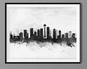 Seattle Skyline - Watercolor Art Print Poster - Housewarming, Gift Idea Home Decor, Wall Hanging, Seattle Art