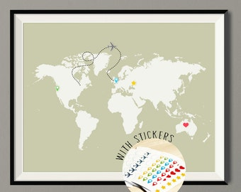 Push Pin Travel Map of the World - Vintage Color - World Map Custom Colors - Art Print Poster - Wall Art Decor - Art Print Poster