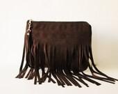 Fringe clutch bag, clutch purse, Boho clutch, Bohemian fringe bag, Chocolate brown, Wrsitlet