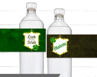 St. Patrick's Day Water Bottle Labels - Decorative Wraps - Luck O' The Irish Collection - Napkin Rings - Instant Download