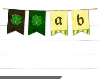 St Patricks Day Party Banner - Pennant Banner - Party Sign - Luck O' The Irish Collection - Instant Download
