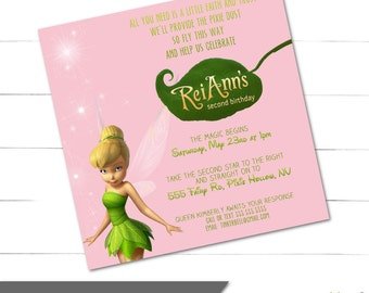 Tinkerbell Birthday Invitation for Girls, Fairy Birthday, Pink Faries Invite, Tink Bday - Pixie Hollow Collection