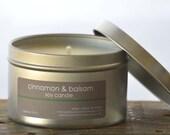 Cinnamon & Balsam Soy Candle Tin 8 oz. - cinnamon candle - balsam candle - fall candle - holiday candle - balsam fir candle - winter candle