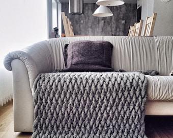 Knitting Pattern Blanket, Knitting Pattern, Tutorial Knit, Throw, Cable Knit Blanket, Chunky Blanket, Wedding Gift, Housewarming Gift