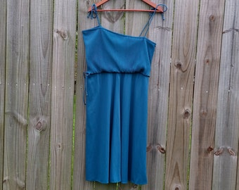 M L XL Medium Extra Large Vintage 70s Asymmetrical Shoulder Spaghetti Strap Sexy Disco Club Summer Spring Dress Sundress