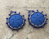 Bead Embroidered Blue Vintage Button Earrings