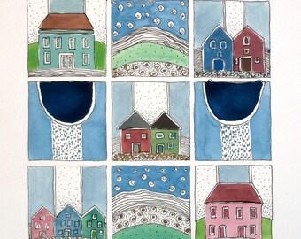"Wall Art ,  ""Rainy Days, Starry Nights"" , Kids Room Art , Watercolor Original, Art, Home Decor"