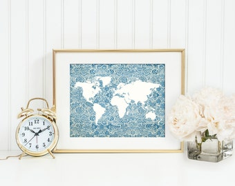 Floral Map Print, Travel Art Print, World Map Poster, Mother's Day Gift, Romantic, Shabby, Blue, White, Gift for Mom, Nursery Decor