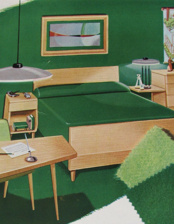 midcentury perfect 1950s bedroom great greens and blonde furniture