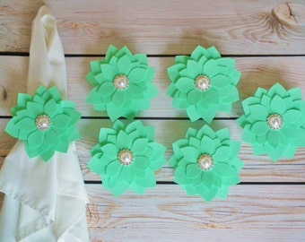 MINT napkin rings, fabric flowers with white faux pearls, light green cloth napkin ring, wedding table settings, set of 6, made to order