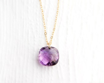 Amethyst Necklace in 14k Gold Filled