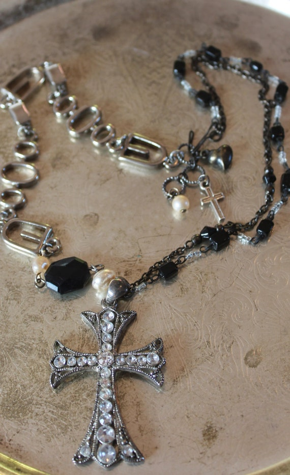 Silver Cross Rosary assemblage necklace with Silver and Rhinestones Cross pendant , Glass rosary  Beads, Art Deco, SteamPunk, Upscaled