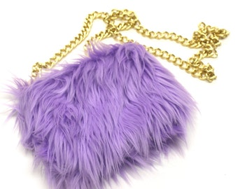 SALE Lavender Faux Fur Cross Body Bag