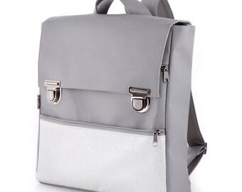 School Bag, Gray Rucksack Backpack, Student Backpack, Laptop Backpack, College Backpack, Vegan Faux Leather bag, Eco Friendly Backpack