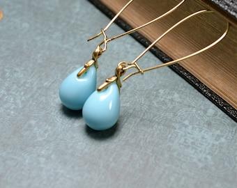Pale Blue Earrings, Blue Dangle Earrings, Robin Egg Blue Jewelry, Duck Egg Blue Teardrop Earrings, Light Blue Earrings, Bridesmaid Earrings