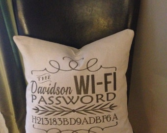 WI-FI Password Pillow Cover - Embroidered & Personalized - Guest room decor