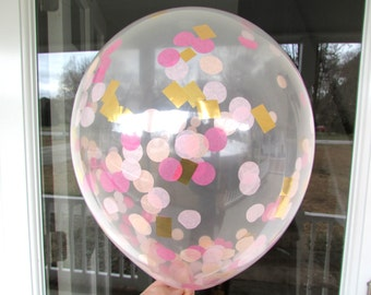 Confetti Balloons, Hot Pink Light Pink Peach Gold, Confetti Filled Balloons, 1st Birthday, Wedding Photo Prop, Bridal Shower, Baby Shower