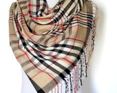 In Stock Plaid blanket scarf blanket scarves plaid scarves oversized multi color camel scarf knit scarves gifts under 30