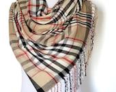 In Stock Plaid blanket scarf blanket scarves plaid scarves oversized multi color camel scarf knit scarves gifts under 30