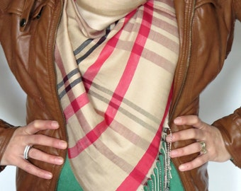 In Stock Plaid blanket scarf blanket scarves plaid scarves oversized multi color camel Pomegranate Flower scarf knit scarves gifts under 30