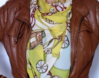 Valentines Day gift. chain printing chiffon scarf yellow scarf - womens scarves - printed scarves - oversized  scarf - scarves gifts