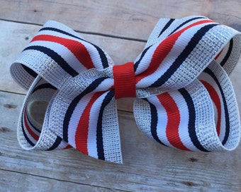 Adorable red, white, navy & silver striped hair bow - 4 inch bow, striped bow, boutique bows, girls hair bows, navy bows, girls bows