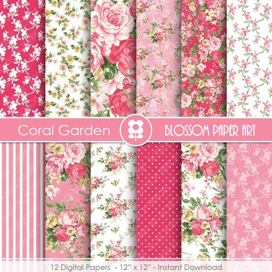 Papeles decorativos rosas flores papeles digitales - Papeles decorativos pared ...
