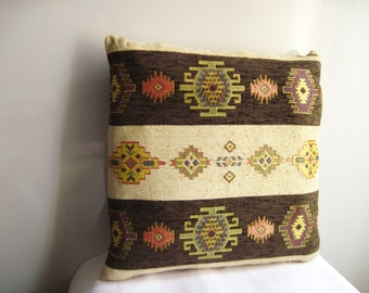 Traditional Turkish Kilim Pillow Cover , Brown and İvory Kilim Pattern Pillow Cover