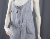 Painters overalls romper Jumper shorts short mini jumpsuit womens blue white size S small