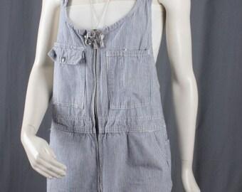 Painters overalls romper Jumper shorts short mini jumpsuit womens blue white size S small