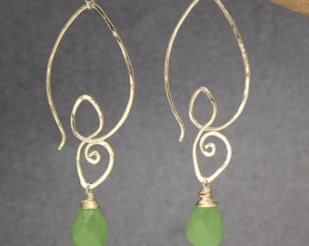 Swirl earrings with choice of gemstone Carnivale 44