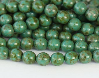 Opaque Turquoise Picasso Czech Glass Beads, 6mm Round - 50 pcs - eT6313-6r