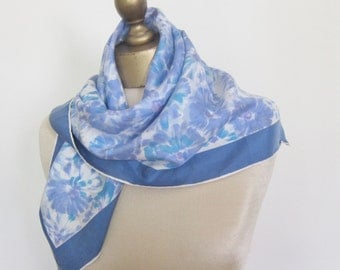 1950s vintage silk scarf BLUE floral, romantic, hand rolled , La Dear  scarf, square silk scarf, blue silk scarf