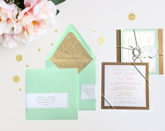 Metallic Gold Glitter and Mint Wedding Invitation Glitter Gold Envelope Liner Sparkle Romantic Gold Baker's Twine Preppy Gold Foil